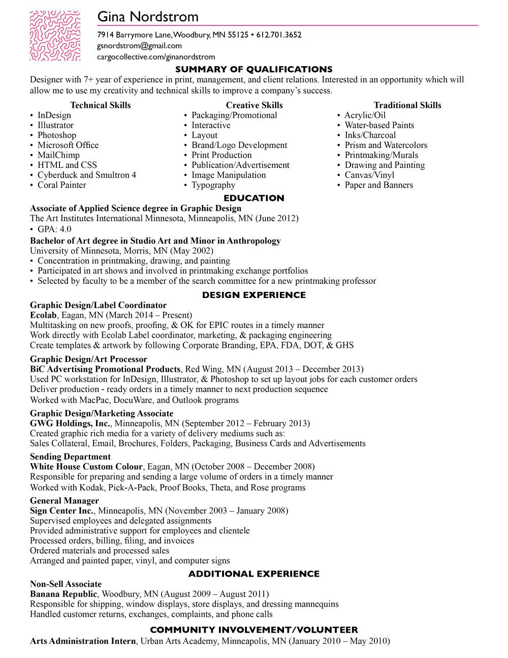 Resume - Gina Nordstrom
